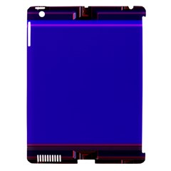 Blue Fractal Square Button Apple iPad 3/4 Hardshell Case (Compatible with Smart Cover)