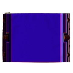 Blue Fractal Square Button Cosmetic Bag (xxl)