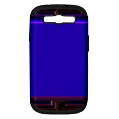 Blue Fractal Square Button Samsung Galaxy S III Hardshell Case (PC+Silicone)