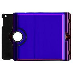 Blue Fractal Square Button Apple iPad Mini Flip 360 Case