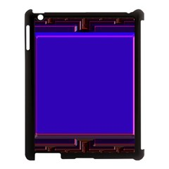 Blue Fractal Square Button Apple iPad 3/4 Case (Black)