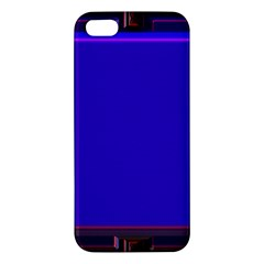 Blue Fractal Square Button Apple Iphone 5 Premium Hardshell Case