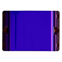 Blue Fractal Square Button Samsung Galaxy Tab 10.1  P7500 Flip Case
