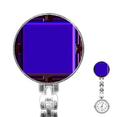 Blue Fractal Square Button Stainless Steel Nurses Watch