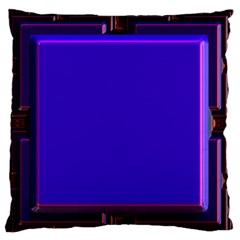 Blue Fractal Square Button Large Flano Cushion Case (two Sides)