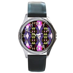 Geometric Abstract Background Art Round Metal Watch