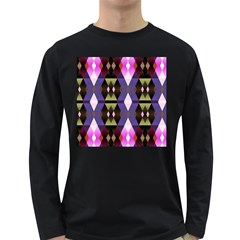 Geometric Abstract Background Art Long Sleeve Dark T Shirts
