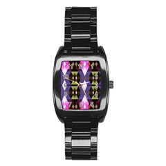 Geometric Abstract Background Art Stainless Steel Barrel Watch