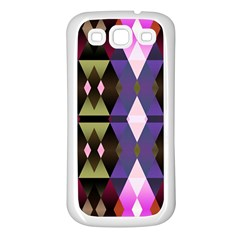 Geometric Abstract Background Art Samsung Galaxy S3 Back Case (White)