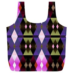 Geometric Abstract Background Art Full Print Recycle Bags (L)