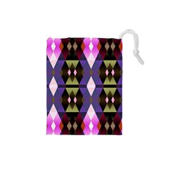 Geometric Abstract Background Art Drawstring Pouches (Small)