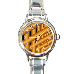 Fractal Background With Gold Pipes Round Italian Charm Watch