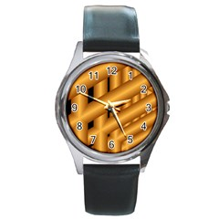 Fractal Background With Gold Pipes Round Metal Watch