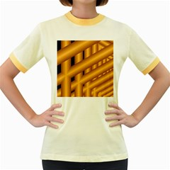 Fractal Background With Gold Pipes Women s Fitted Ringer T Shirts