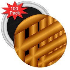Fractal Background With Gold Pipes 3  Magnets (100 Pack)