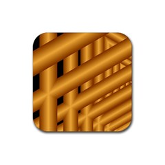 Fractal Background With Gold Pipes Rubber Coaster (Square)