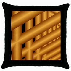 Fractal Background With Gold Pipes Throw Pillow Case (black)