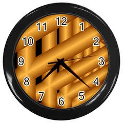 Fractal Background With Gold Pipes Wall Clocks (Black)