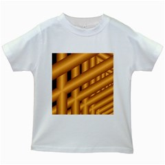 Fractal Background With Gold Pipes Kids White T Shirts
