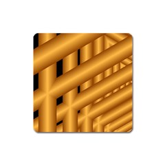 Fractal Background With Gold Pipes Square Magnet