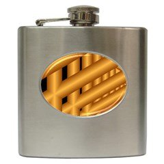 Fractal Background With Gold Pipes Hip Flask (6 Oz)