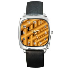 Fractal Background With Gold Pipes Square Metal Watch