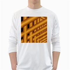 Fractal Background With Gold Pipes White Long Sleeve T-Shirts