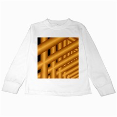 Fractal Background With Gold Pipes Kids Long Sleeve T Shirts