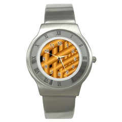 Fractal Background With Gold Pipes Stainless Steel Watch