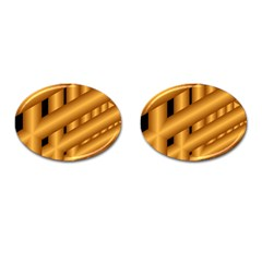 Fractal Background With Gold Pipes Cufflinks (Oval)