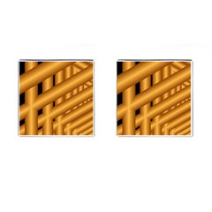 Fractal Background With Gold Pipes Cufflinks (Square)
