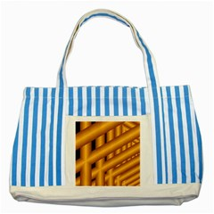 Fractal Background With Gold Pipes Striped Blue Tote Bag