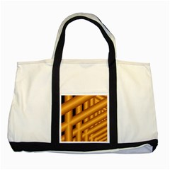 Fractal Background With Gold Pipes Two Tone Tote Bag
