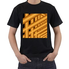 Fractal Background With Gold Pipes Men s T-Shirt (Black)