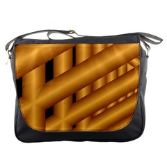 Fractal Background With Gold Pipes Messenger Bags