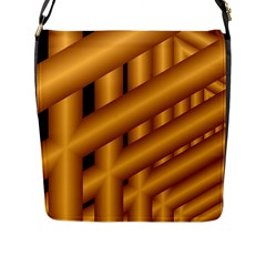 Fractal Background With Gold Pipes Flap Messenger Bag (L)