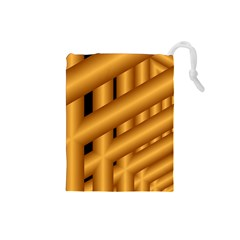 Fractal Background With Gold Pipes Drawstring Pouches (Small)