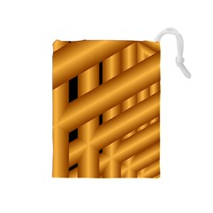 Fractal Background With Gold Pipes Drawstring Pouches (Medium)