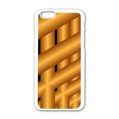 Fractal Background With Gold Pipes Apple iPhone 6/6S White Enamel Case