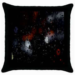 Lights And Drops While On The Road Throw Pillow Case (Black)