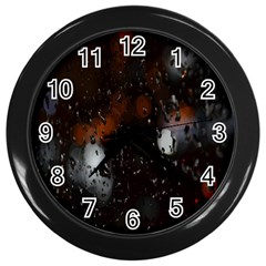 Lights And Drops While On The Road Wall Clocks (black)