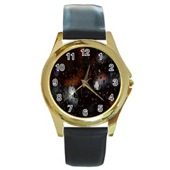 Lights And Drops While On The Road Round Gold Metal Watch