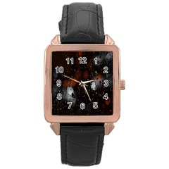 Lights And Drops While On The Road Rose Gold Leather Watch