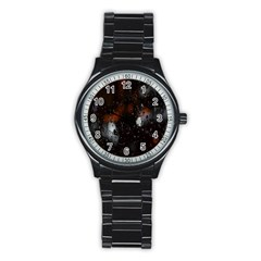 Lights And Drops While On The Road Stainless Steel Round Watch