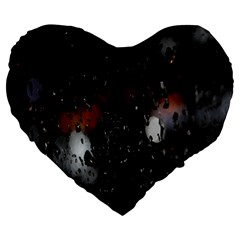 Lights And Drops While On The Road Large 19  Premium Flano Heart Shape Cushions