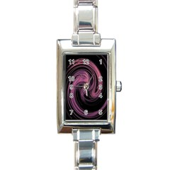 A Pink Purple Swirl Fractal And Flame Style Rectangle Italian Charm Watch
