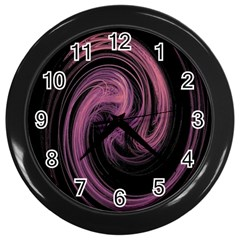 A Pink Purple Swirl Fractal And Flame Style Wall Clocks (Black)