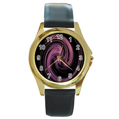 A Pink Purple Swirl Fractal And Flame Style Round Gold Metal Watch