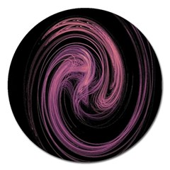 A Pink Purple Swirl Fractal And Flame Style Magnet 5  (Round)