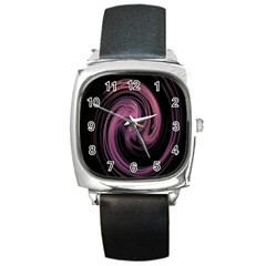 A Pink Purple Swirl Fractal And Flame Style Square Metal Watch